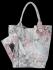 Modna Torebka Skórzana Shopper Bag w kwiaty firmy Vittoria Gotti Jasno Szara