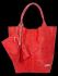 Modne Torebki Skórzane Shopper Bag XL z Etui firmy Vittoria Gotti Czerwona