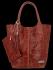 Modne Torebki Skórzane Shopper Bag XL z Etui firmy Vittoria Gotti Brązowa