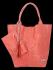 Modne Torebki Skórzane Shopper Bag XL z Etui firmy Vittoria Gotti Koralowa