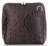 Włoska Torebka Skórzana Listonoszka firmy Genuine Leather we wzór Krokodyla Czekoladowa