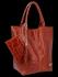 Uniwersalna Torebka Skórzana XL Shopper Bag w motyw zwierzęcy firmy Vittoria Gotti Brązowa