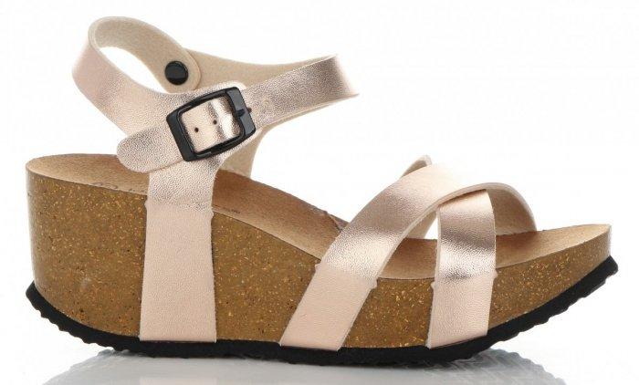 73c0bfeb4f48a7 Stylowe Buty Damskie Koturny firmy Ideal Shoes Szampan ...