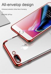 ETUI ELEGANCE PLATE iPHONE 7+ 8+ +SZKŁO (czerwony)
