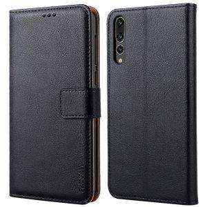 Peakally Etui Premium PU Leather Flip Wallet Case Cover do Huawei P20 Pro 6.1 (czarny)