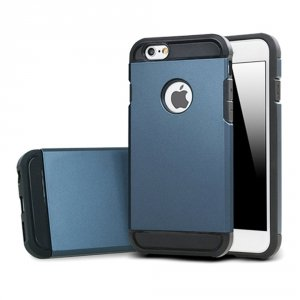 Rugged Hybrid Dual Layer Hard Shell Armor Etui iPhone 5 5S SE (navy blue)