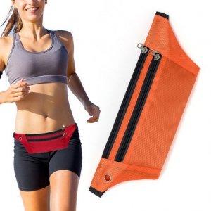 Pas do biegania saszetka nerka na etui na telefon z wyjściem na słuchawki pomarańczowy