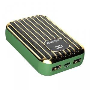Dudao power bank 10000 mAh 2x USB / USB Typ C / micro USB 2 A z ekranem LED zielony (K11Pro-G)
