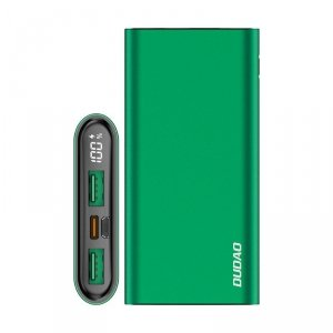 Dudao power bank 10000 mAh Power Delivery 20 W Quick Charge 3.0 2x USB / USB Typ C zielony (K14H green)