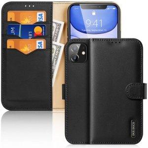 Dux Ducis Hivo skórzane etui z klapką pokrowiec ze skóry naturalnej portfel na karty i dokumenty iPhone 11 czarny