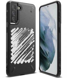 Ringke Onyx Design wytrzymałe etui pokrowiec Samsung Galaxy S21 5G czarny (Paint) (OXAP0051)