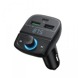 Ugreen Transmiter FM Bluetooth 5.0 ładowarka samochodowa MP3 3x USB TF micro SD 4,8 A czarny (CD229)