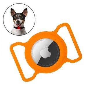 Zestaw obroża i etui do Apple AirTag dla psa kota zawieszka case do lokalizatora Apple AirTag pomarańczowy