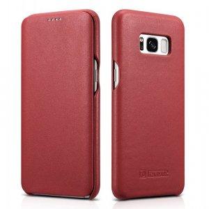 iCarer Leather Folio etui z naturalnej skóry z klapką do Samsung Galaxy S8 czerwony (RS99002-RD)