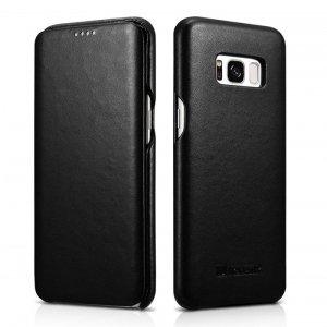 iCarer Leather Folio etui z naturalnej skóry z klapką do Samsung Galaxy S8 czarny (RS99002-BK)