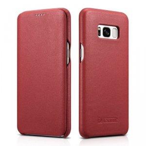 iCarer Leather Folio etui z naturalnej skóry z klapką do Samsung Galaxy S8+ (S8 Plus) czerwony (RS991002-RD)
