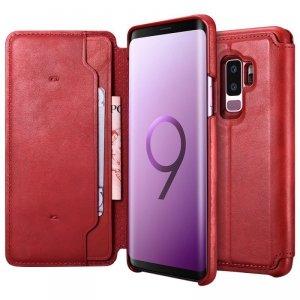 iCarer 2w1 Leather Folio etui z naturalnej skóry z odpinaną klapką do Samsung Galaxy S9+ (S9 Plus) czerwony (RS992003-RD)