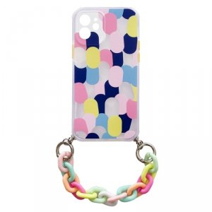 Color Chain Case żelowe elastyczne etui z łańcuchem łańcuszkiem zawieszką do iPhone SE 2020 / iPhone 8 / iPhone 7 wielokolorowy