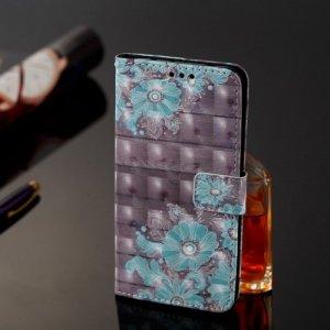 Etui portfel leather LG G7 niebieski kwiat