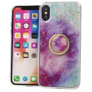 Etui IPHONE X / XS Marble Ring fioletowo-niebieskie