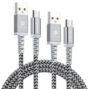 Kabel TYP C USB-C Dux Ducis 2A 1M+2M KII-PRO zestaw 2w1 wzmacniany nylonowy czarny