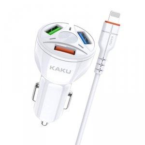 Ładowarka Samochodowa 20W 4,8A QC3.0 3xUSB + Kabel iPhone Lightning KAKU Three Port Quick Charge 3.0 Car Charger with Lightning