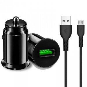 Ładowarka Samochodowa 18W 3A QC3.0 USB + Kabel Micro USB Ampere ACCU3QC30B+CM czarna
