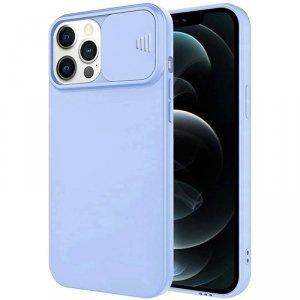 Etui IPHONE 12 PRO Silikonowe z Osłoną na Aparat Nexeri Silicone Lens jasny niebieski