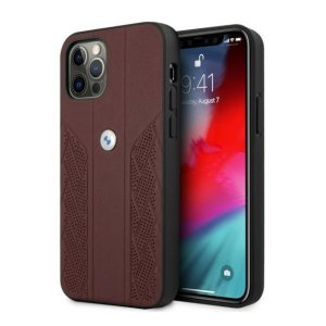 Etui BMW BMHCP12LRSPPR iPhone 12 Pro Max 6,7 czerwony/red hardcase Leather Curve Perforate