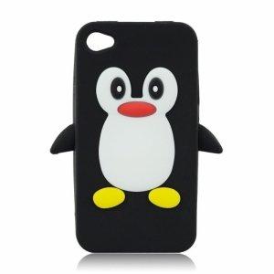 Silikon 3D Sam i9500 Pingwin czarny Galaxy S4