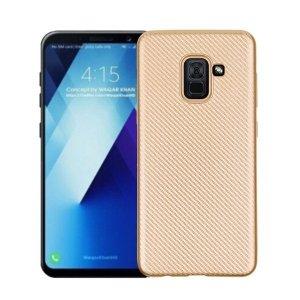 Etui Carbon Fiber Samsung A8 A530 2018 złoty /gold