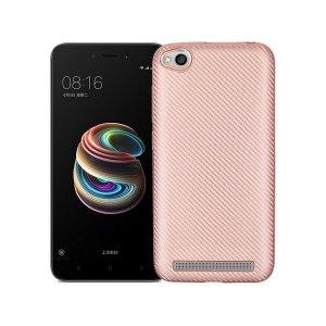 Etui Carbon Fiber Xiaomi Note 5A różowo- złoty/rosegold cut for finger print