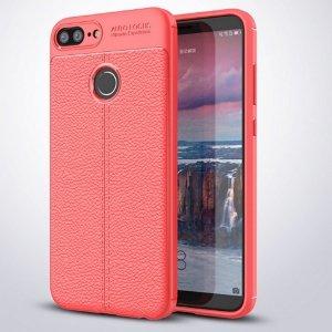 Etui Grain Leather Huawei Honor 9 Lite czerwony/red