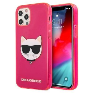 Karl Lagerfeld KLHCP12MCHTRP iPhone 12/12 Pro 6,1 różowy/pink hardcase Glitter Choupette Fluo