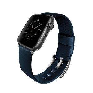 UNIQ pasek Mondain Apple Watch Series 4/5/6/SE 44mm. Genuine Leather niebieski/royal blue
