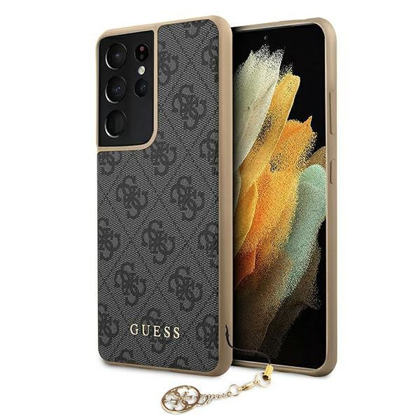Guess GUHCS21LGF4GGR S21 Ultra G998 szary/grey hardcase 4G Charms Collection
