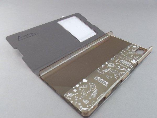 USAMS S VIEW Case Cover Flip Stand  ETUI do SONY XPERIA Z5 (różowy)
