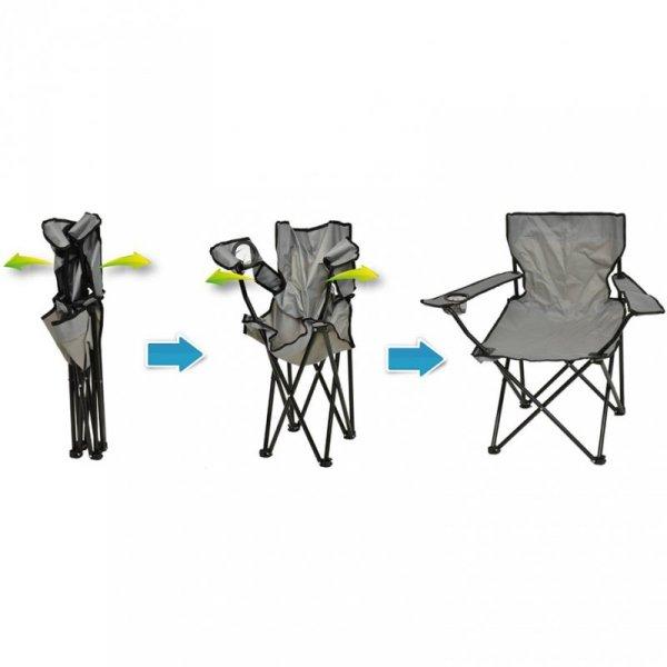 Krzesło turystyczne składane 50x50x80cm szare 1020280
