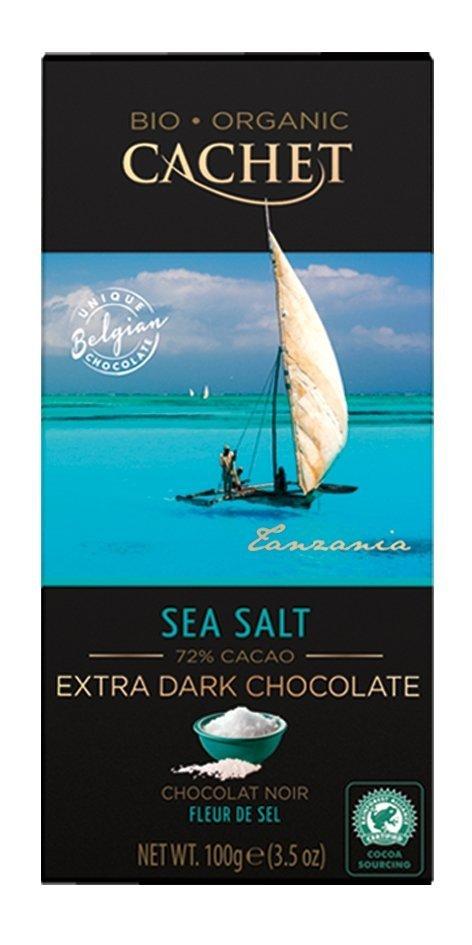 Cachet Belgijska Czekolada Organiczna bio Extra Dark&Sea Salt 100g