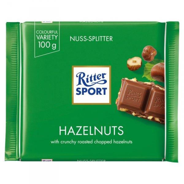 Ritter Sport Czekolada mleczna z kawałkami prażonych orzechów laskowych 100 g