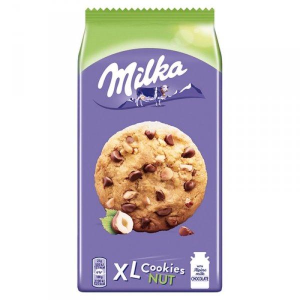 Milka XL Cookies Nuts Ciastka z kawałkami czekolady mlecznej i orzechami 184 g