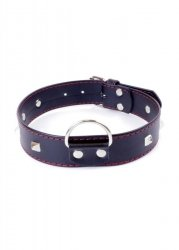 Fetish Boss Series Collar with studs 3 cm Red Line