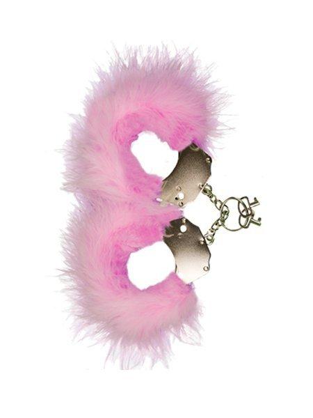 Kajdanki-Śmieszna zabawka-kadanki - Metallic Handcuffs,Feather Cov.. Pink