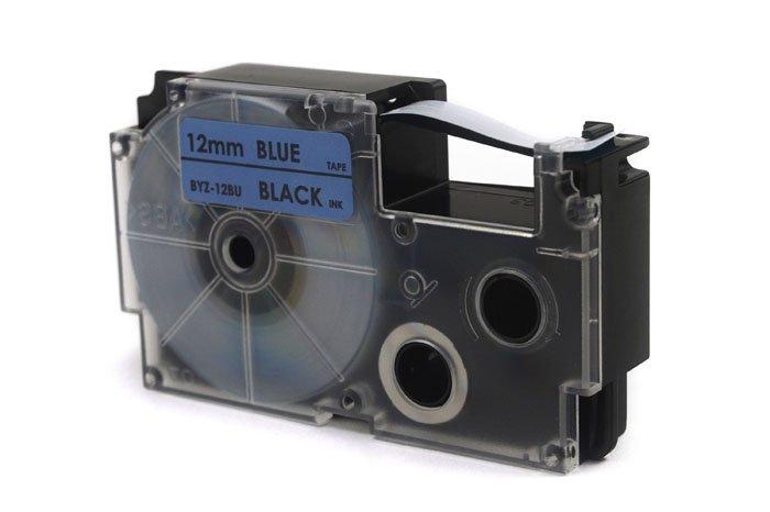 Taśma JetWorld Zamiennik Casio Czarny na Niebieskim 12mm x 8m (PT-12BU1, PT12BU1, XR-12BU1, XR12BU1)