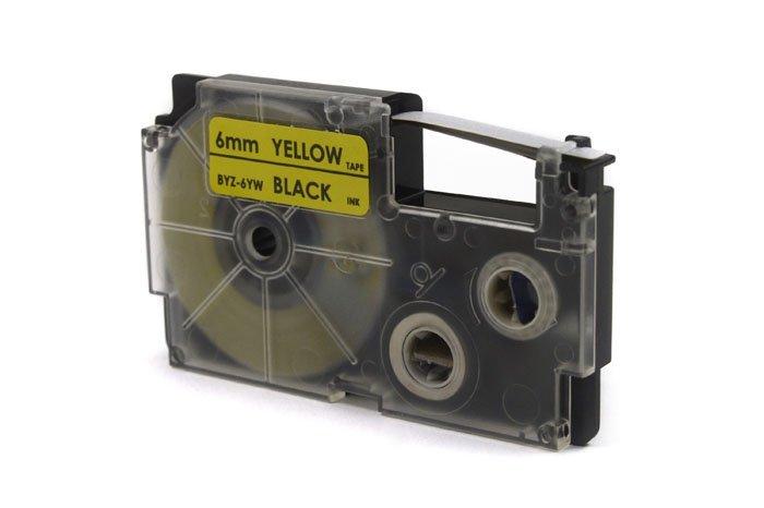 Taśma JetWorld Zamiennik Casio Czarny na Żółtym 6mm x 8m (PT-6X1, PT6X1, XR-6YW1, XR6YW1)