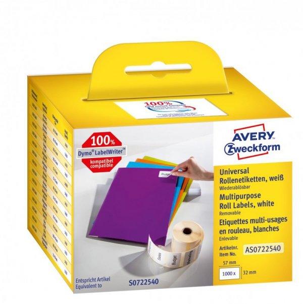 Zestaw etykiet w rolce Do termodruku AVERY Zweckform AS0722540 (32mm x 569mm; Papier; kolor biały)