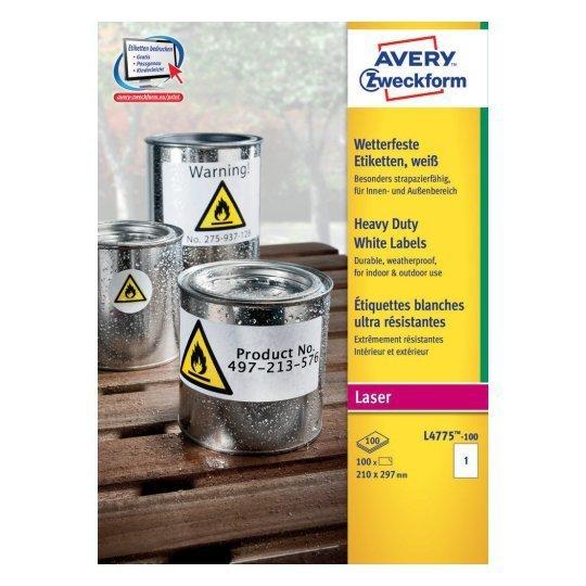 Zestaw etykiet ochronne AVERY Zweckform L4775-100 (210mm x 297mm; Poliester; kolor biały)