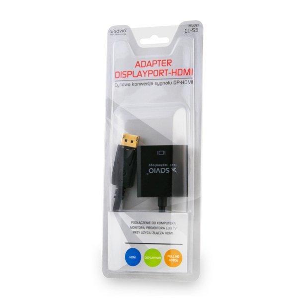 Adapter SAVIO cl-55 (HDMI F - DisplayPort M; 0,10m; kolor czarny)