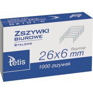 Zszywki biurowe 26/6 1000szt. GZ101-C TETIS
