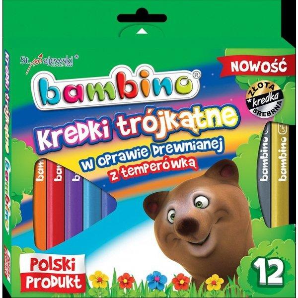 Kredki trójkątne w drewnie BAMBINO 12 kolorów z glinki kaolinowej + temperówka opak.kart.St.Majewski